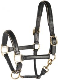 Harry's Horse Head collar leather, black with piping