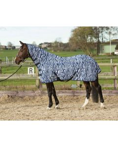 Harry's Horse Flysheet mesh with neck and surcingles, zebra medival blue