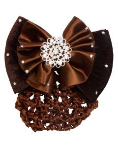 Imperial Riding Hair bow with bun net Crystal