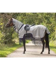 QHP Fly exercise sheet sheet rug with fringes
